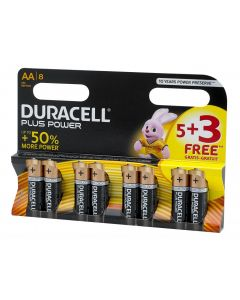 Duracell Plus Power AA Batteries (Pack 5 + 3 Free) S6773