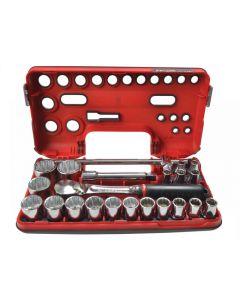 Facom 12Pt Detection Box Socket Set 22 Piece Metric 1/2in Drive