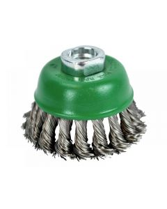 Faithfull Wire Cup Brush Twist Knot 65mm M14 x 2 0.50mm Stainless Steel Wire WBT65S