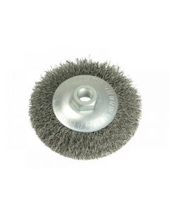 Lessmann Conical Bevel Brush 100mm M14 Bore 0.35 Steel Wire