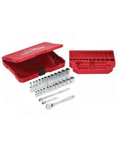 Milwaukee 1/4in Ratcheting Socket Set Metric, 28 Piece 4932464943