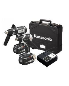 Panasonic EYC158LR Combi Drill & Impact Wrench Twin Pack 18V 2 x 3.3Ah Li-Ion