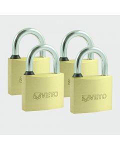 TIMco Brass Padlock x 4 Keyed Alike Range