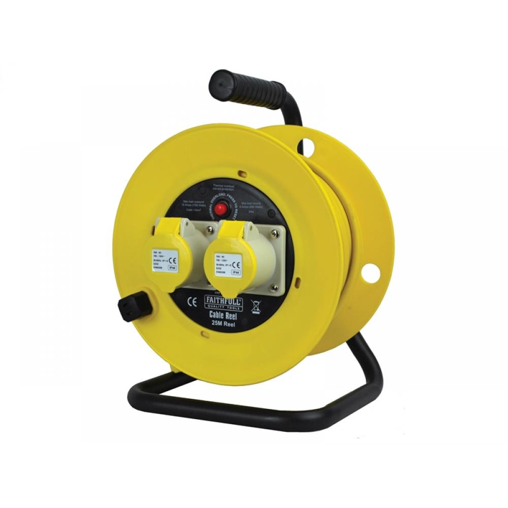 Faithfull Cable Reel 25m 16 amp 2.5mm Cable 110V CR25162.5-TB