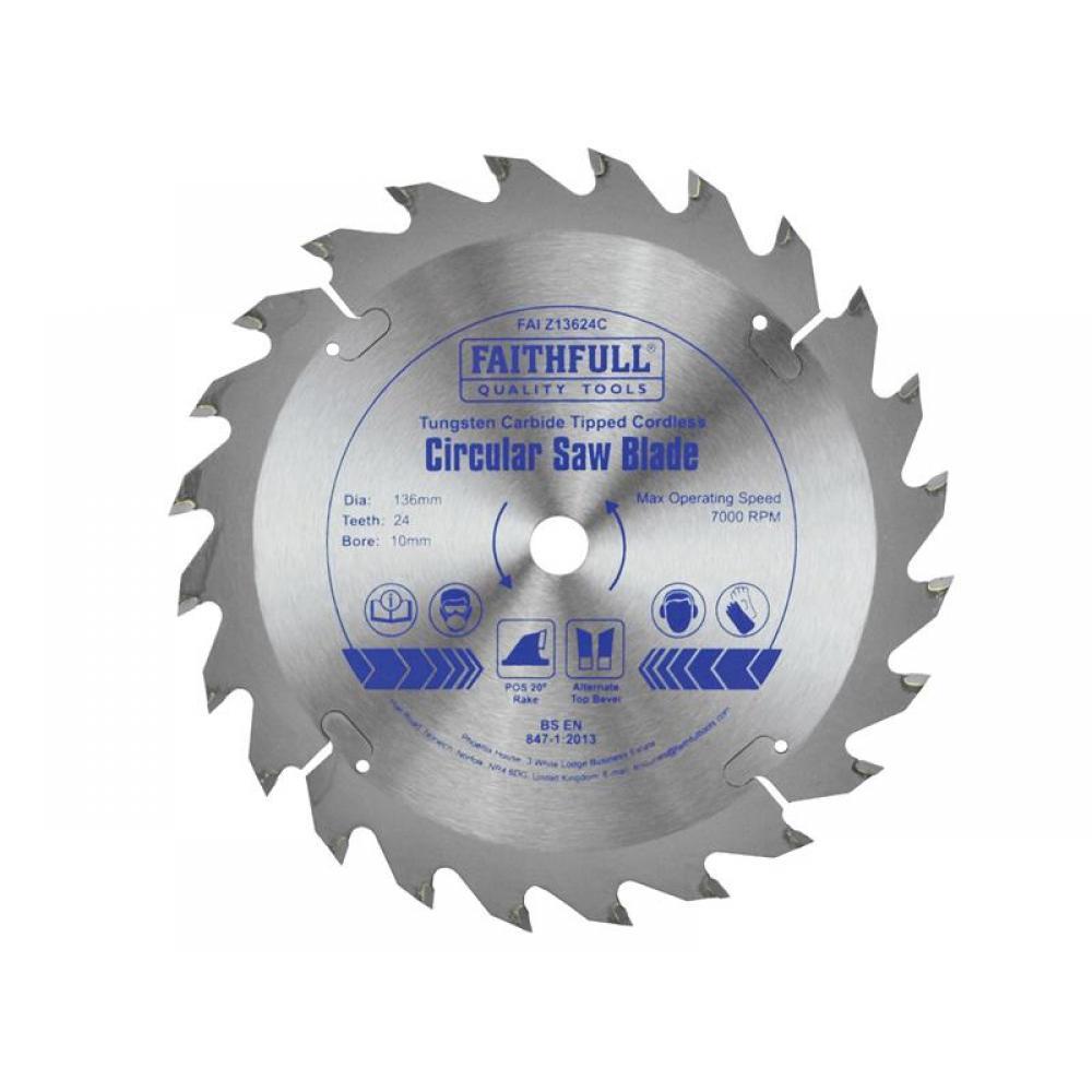 Faithfull TCT Cordless Trimsaw Blade 136 x 10mm x 24T POS