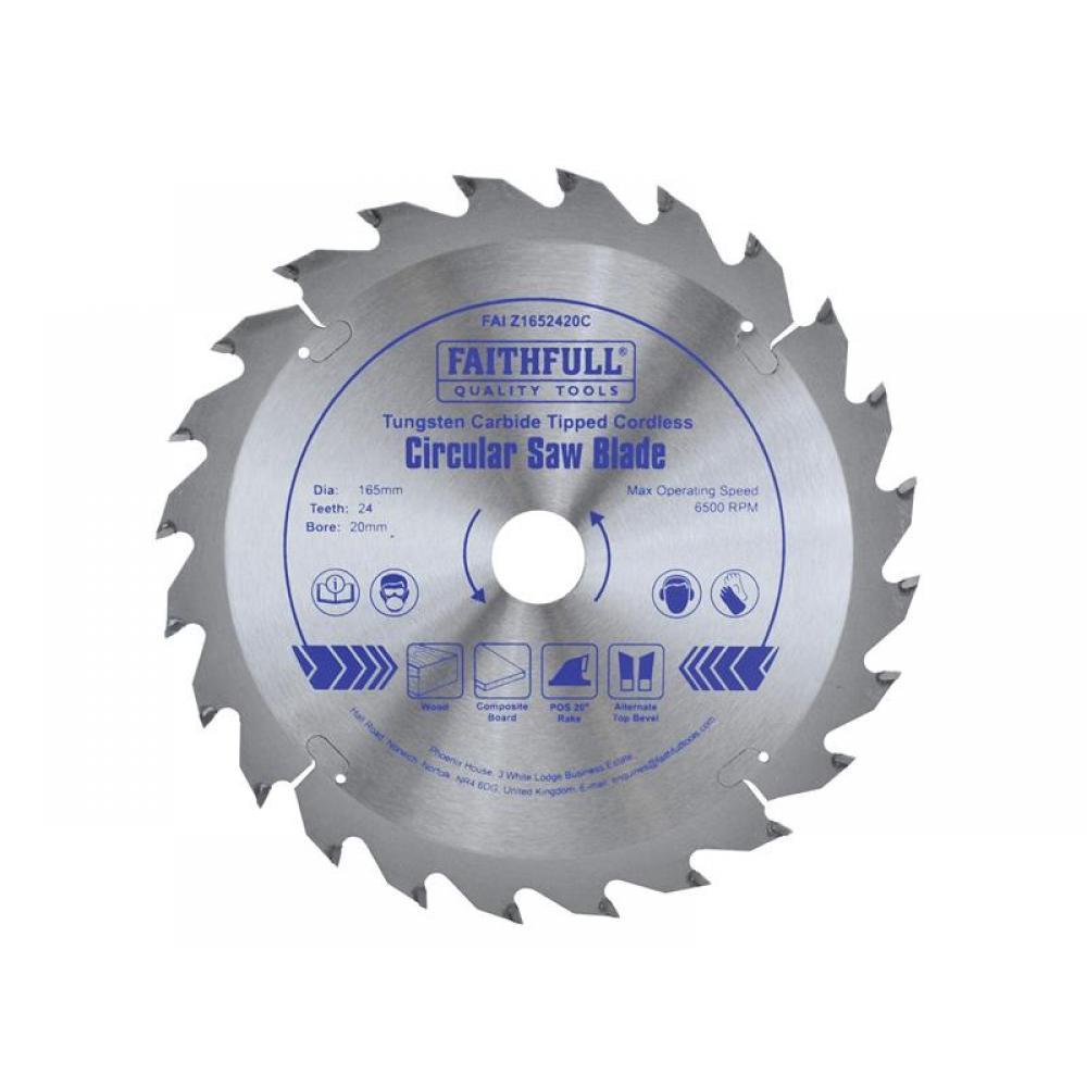 Faithfull TCT Cordless Trimsaw Blade 165 x 20mm x 24T POS