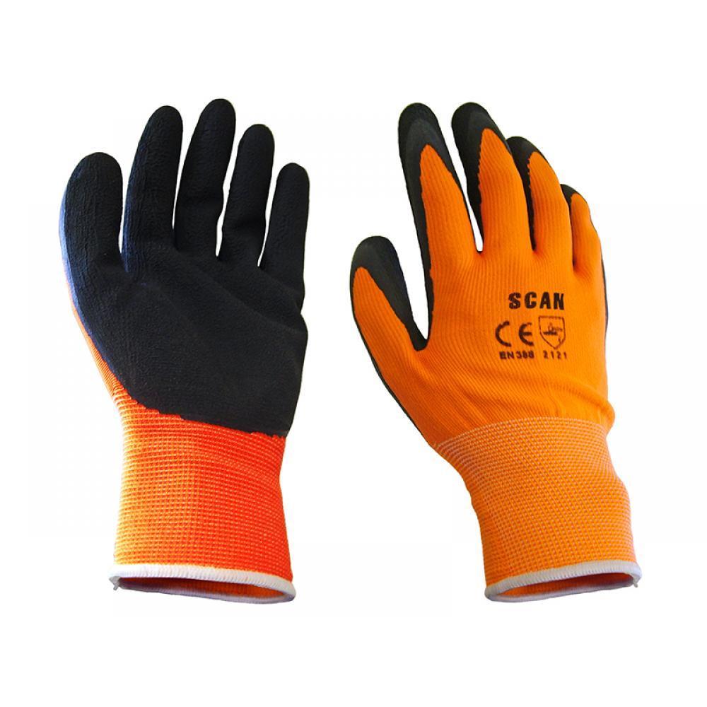 Scan Hi-Vis Orange Foam Latex Coated Gloves - Large (Size 9)