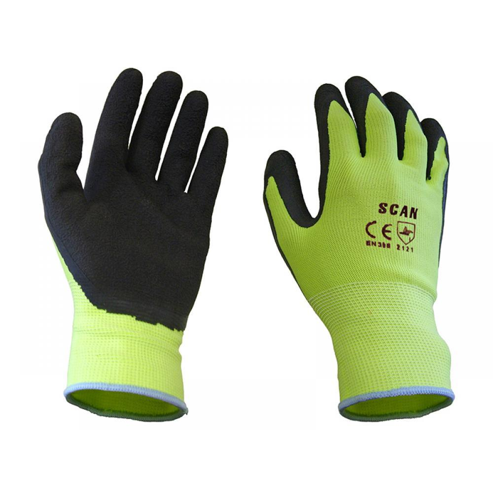 Scan Hi-Vis Yellow Foam Latex Coated Gloves - Large (Size 9)
