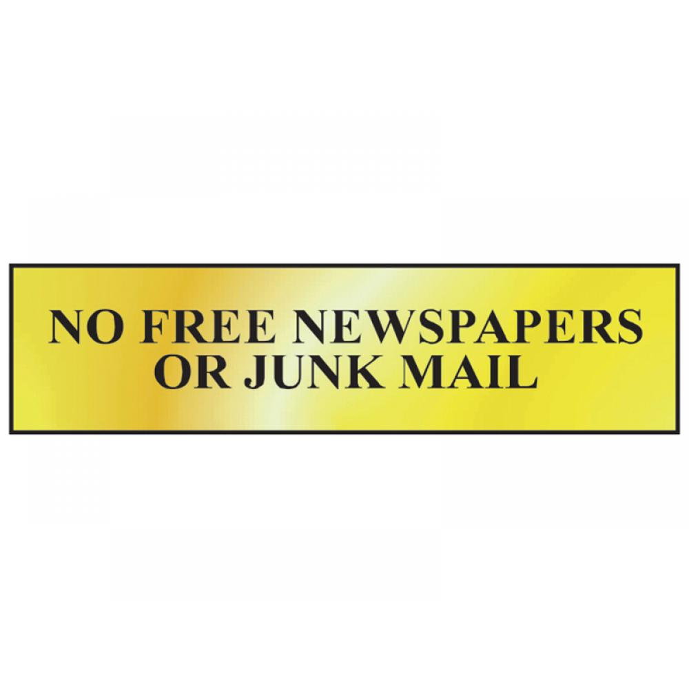 Scan No Free Newspapers Or Junk Mail - Polished Brass Effect 200 x 50mm