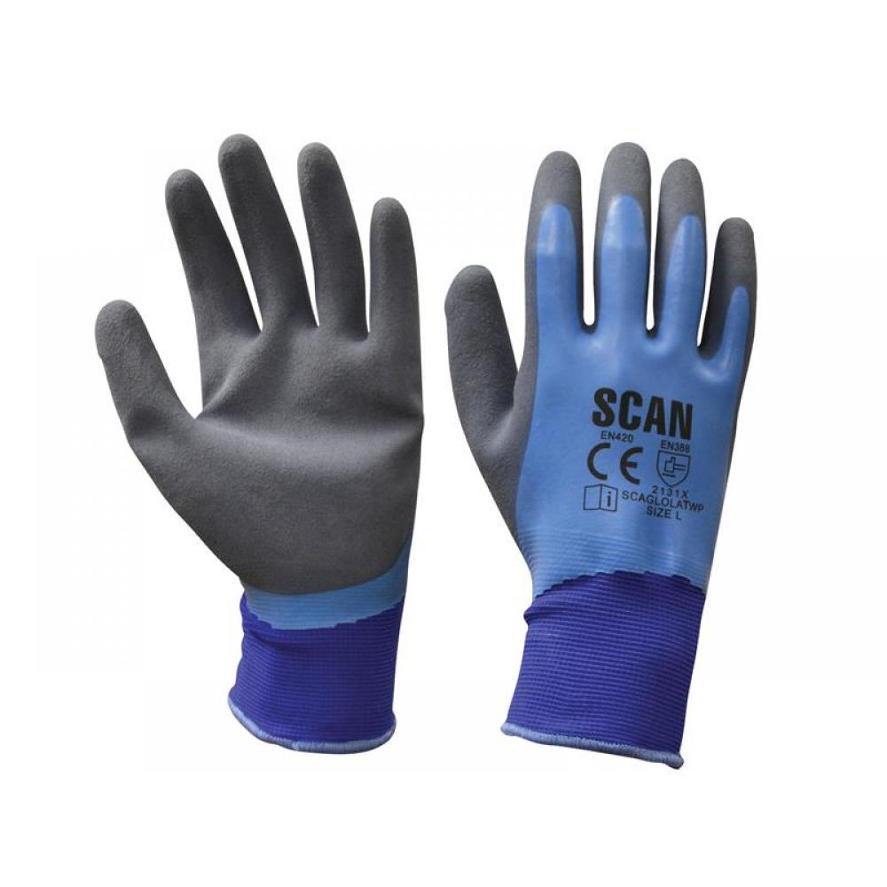 Scan Waterproof Latex Gloves - Large (Size 9)